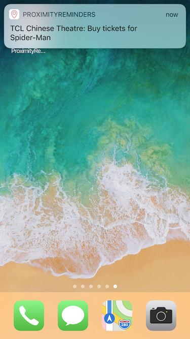 Proximity Reminders App – Notification